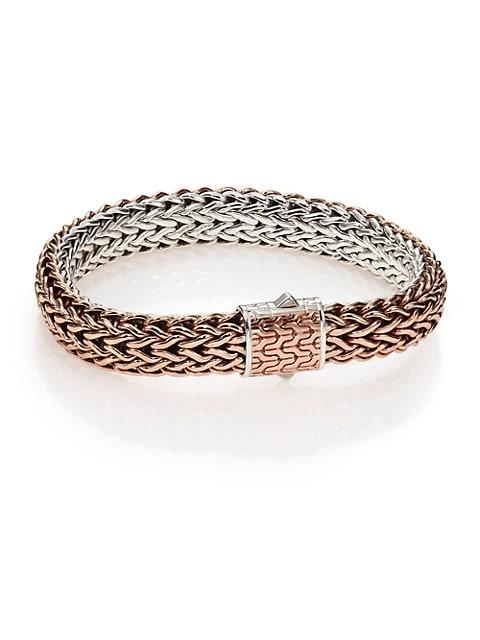 Classic Bronze & Silver Reversible Chain Bracelet