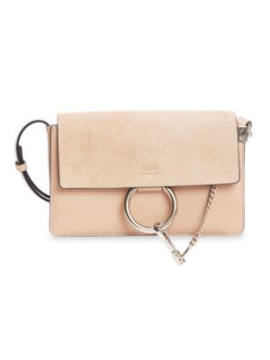 ChloÉ Small Faye Leather & Suede Shoulder Bag In Milky Orange