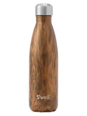 S'WELL Teakwood Stainless Steel Reusable Water Bottle in Wood