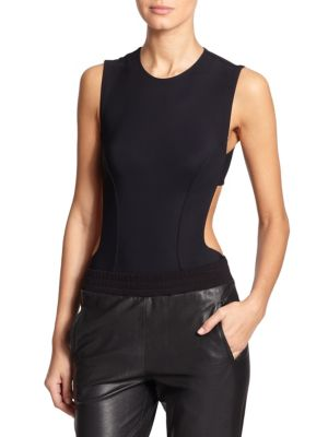 """Image of Contour seaming enhances the form-flattering look of this sleek stretch bodysuit, finished with daring cut-outs. Roundneck. Sleeveless. Seaming detail. Cut-out sides and back. Exposed back zip. Snap gusset. About 30"""" from shoulder to hem. Nylon/elastane."""