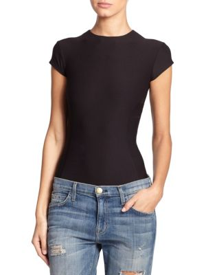 """Image of An essential styling staple in soft stretch jersey, enhanced by contoured seaming at the bodice. Crewneck. Cap sleeves. Contour seaming. Snap gusset. Exposed back zip. About 28"""" from shoulder to hem. Nylon/elastane. Hand wash. Made in USA."""