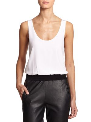 """Image of An effortless, draped silhouette defines this versatile styling staple, rendered in airy silk. Scoopneck. Sleeveless. Draped bodice. Contrast bottom. Snap gusset. About 30"""" from shoulder to hem. Silk. Contrast: Nylon/elastane. Dry clean. Made in USA."""
