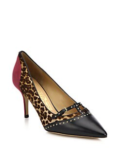 Salvatore Ferragamo - Liena Studded Leopard-Print Calf Hair Pumps