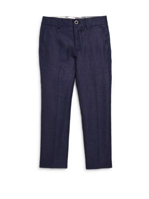 Image of Crafted from lightweight linen, this handsome pant features a tonal herringbone pattern. .Front button closure. Belted waistband. Zip fly. Angled pockets. Back buttoned besom pocket. Linen. Dry clean. Imported.