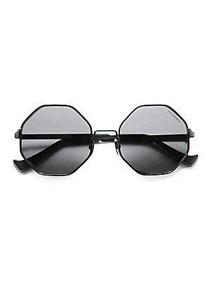 Image of Octagonal angles shape these modern-minimalist metal sunglasses with artful edge. 51mm lens width; 20mm bridge width; 145 arm length Metal and acetate 100% UV protection Made in Italy. Soft Accessorie - Sunglasses. Cutler and Gross. Color: Black.