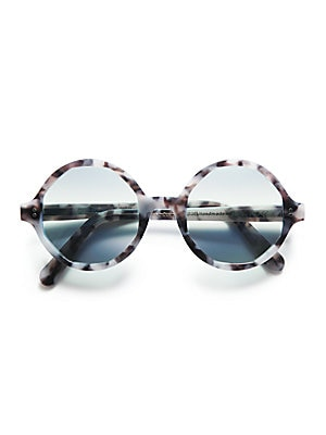 Image of A marbleized pattern takes these retro-cool round sunglasses into graphic territory. 52mm lens width; 21mm bridge width; 150mm arm length Acetate 100% UV protection Made in Italy. Soft Accessorie - Sunglasses > Saks Fifth Avenue. Cutler and Gross. Color: