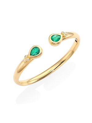 Temple St Clair Bella Diamond Emerald 18k Yellow Gold Bangle Bracelet