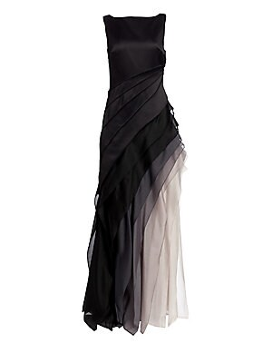 """Image of Sleek, smooth satin gives way to degradé organza tiers that cascade diagonally across the skirt, creating a gown that will captivate with your every turn Boatneck Sleeveless Concealed side zip Asymmetrical pleats Tiered skirt Lined About 63"""" from shoulder"""