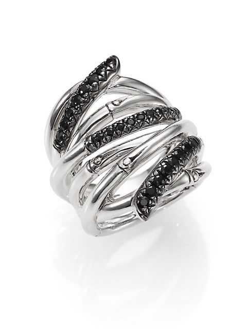 Bamboo Black Sapphire & Sterling Silver Wide Multi-Row Ring