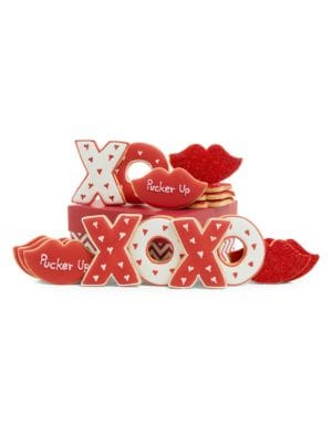 "Image of 4 Xs and 4 Os packed in a decorative set up gift box and tied with a matching grosgrain ribbon. Includes 8 cookies.4 X cookies.4 O cookies.6""W X 6""H X 4""D.12 oz. Shelf life: 8 weeks. Made in USA. SPECIAL PROCESSING & DELIVERY. This item ships directly fro"