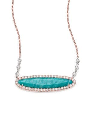 Blue Amazonite, Diamond & 14K Rose Gold Pendant Necklace