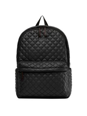 Mz Wallace Metro Leather-trimmed Quilted Shell Backpack In Black