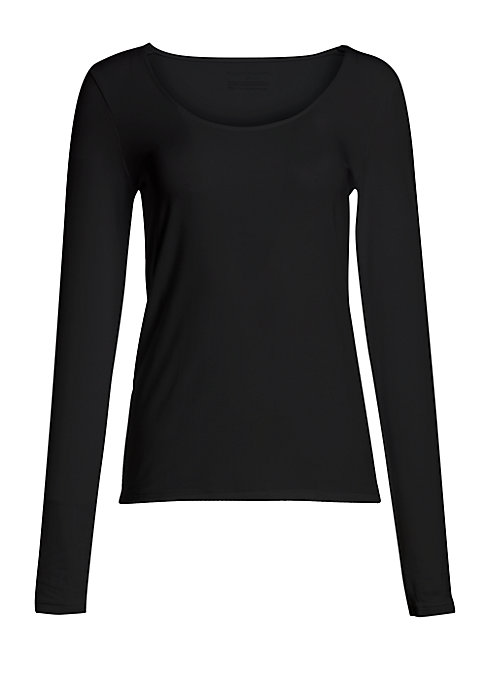 """Image of A season-spanning essential crafted from stretch modal for a smooth and seamless fit. Scoopneck. Long sleeves. Pullover. About 28"""" from shoulder to hem. Modal/spandex. Hand wash. Imported."""