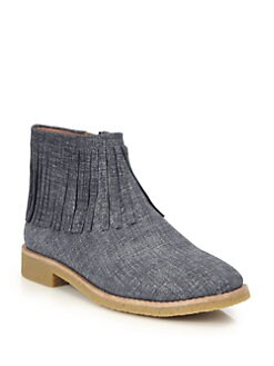 e2cfeee2d11e Kate Spade New York Betsie Too Fringed Chambray Ankle Boots