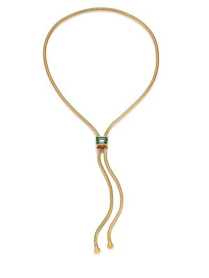 HOUSE OF LAVANDE Kemala Crystal Snake Chain Lariat Necklace in Gold
