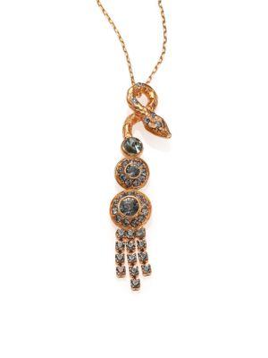 HOUSE OF LAVANDE Serpent Crystal Tassel Pendant Necklace in Gold