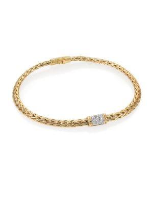 John Hardy Classic Chain Diamond & 18k Yellow Gold Barrel Station Bracelet
