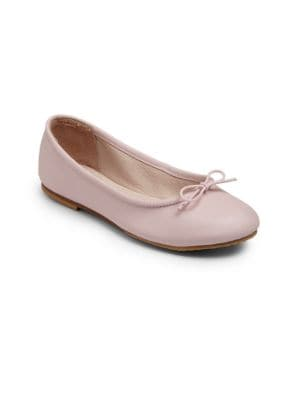 Image of A classic design for neat little feet crafted in pearlized leather with an adjustable front tie for a perfect fit. .Slip-on style. Pearlized leather upper. Leather lining. Leather and rubber sole. Padded insole. Imported.
