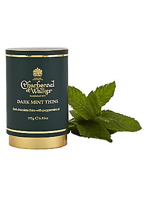 """Image of Discs of fine dark chocolate containing natural peppermint flavor presented in a contemporary-design case. Approximately 20 pieces 2.75""""W X 4.25""""H X 2.75""""D 7 oz. Shelf life: 1 year Made in UK. Drop Ship Prgrm - Food > Saks Fifth Avenue. Charbonnel et Walk"""
