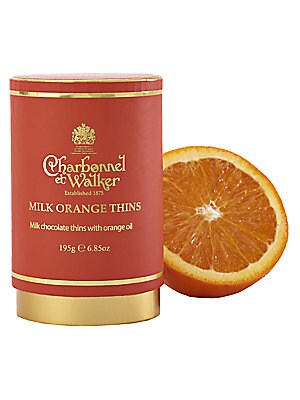 """Image of Discs of fine milk chocolate containing natural orange flavor presented in a contemporary-design case. Approximately 20 pieces 2.75""""W X 4.25""""H X 2.75""""D 7 oz. Shelf life: 1 year Made in USA. Drop Ship Prgrm - Food > Saks Fifth Avenue. Charbonnel et Walker."""