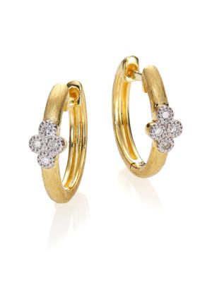 JUDE FRANCES Diamond & 18K Yellow Gold Small Hoop Earrings/0.65""