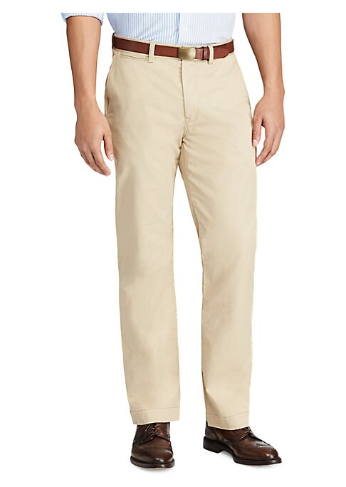 """Image of This lightweight, dressy chino pant is crafted from refined stretch cotton twill and designed with a relaxed fit. .Flat-front style. Zip fly. Side slash pockets. Buttoned back welt pockets. Inseam, about 32"""".Cotton/elastane. Machine wash. Imported."""