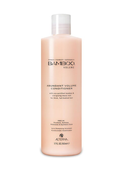 Image of Bamboo Abundant Volume Conditioner combines strengthening pure Organic Bamboo Extract and stimulating, phyto-nutrient rich Organic Maca root in a paraben and sodium chloride-free conditioner that energizes hair with weightless moisture and volume boosting