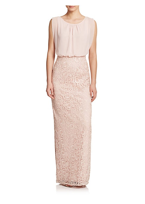Image of An airy blouson bodice adds volume to this streamlined column gown, finished with textural guipure lace at the skirt. A showstopping addition to any girl's bridal party wardrobe. .Chiffon blouson bodice. Gathered scoopneck. Sleeveless. Lace column skirt.