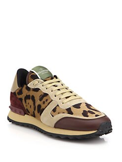 Valentino - Leopard-Print Calf Hair, Leather & Suede Sneakers