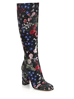 Valentino - Floral-Embroidered Knee-High Boots