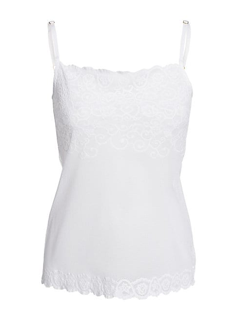 Image of A delicate camisole rendered in sheer stretch lace for an overtly alluring, feminine touch. Scalloped straight neckline and hem. Adjustable spaghetti straps. Pullover style. Nylon/spandex. Hand wash. Made in USA.