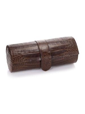 SANTIAGO GONZALEZ Crocodile Watch Roll Case in Brown