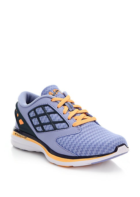 Image of An eye-catching palette and a mix of grid paneling and zig-zag mesh lend these sporty sneakers a cool slant. .Mesh and rubber upper. Lace-up vamp. Fabric lining. Rubber sole. Padded insole. Imported.