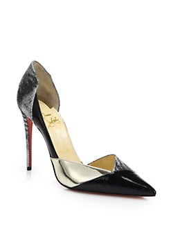 Christian Louboutin - Tac-Clac Patchwork Patent Leather D'Orsay Pumps