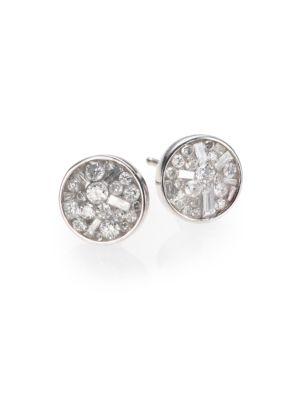 PLEVÉ Ice Diamond & 18K White Gold Stud Earrings in Silver