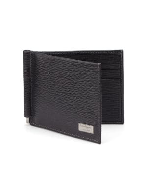Revival Textured Leather Money-Clip Bifold Wallet