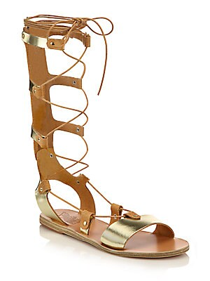 eed61fbe15d7 Ancient Greek Sandals - Thebes Metallic Leather Tall Gladiator Sandals -  saks.com