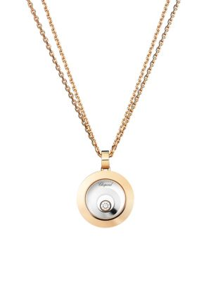 Chopard Happy Spirit Diamond 18k Rose White Gold Double Circle Pendant Double Chain Necklace