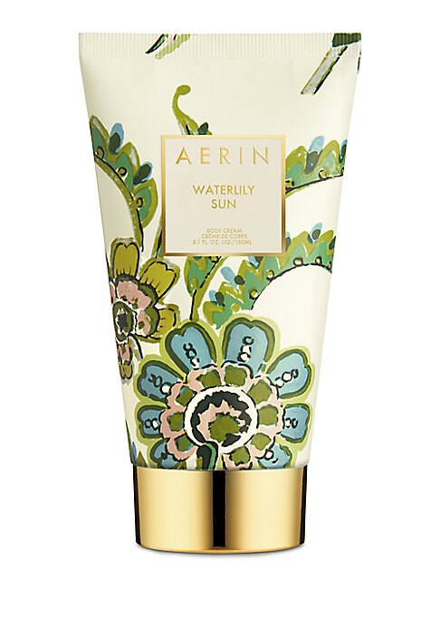 Image of AERIN's Waterlily Sun Body Cream leaves skin luxuriously moisturized and lightly scented with Sicilian Bergamot, Waterlily, and Jasmine Sambac paired with dewy greens. 5 oz. Made in Canada.