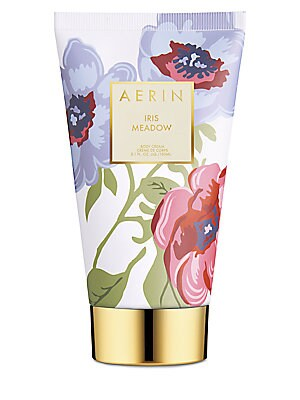 Image of AERIN's Iris Meadow Body Cream leaves skin luxuriously moisturized and lightly scented with lush Iris and Egyptian Jasmine balanced with crisp greens and warming woods. 5 oz. Made in Canada. Cosmetics - Estee Lauder Treatment. AERIN.
