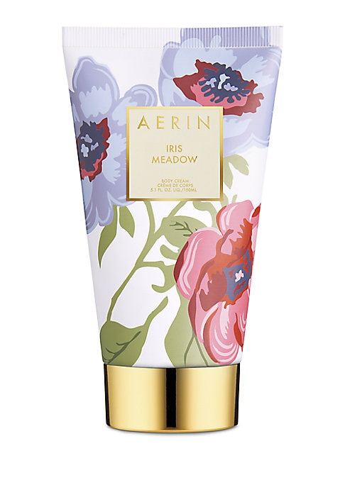 Image of AERIN's Iris Meadow Body Cream leaves skin luxuriously moisturized and lightly scented with lush Iris and Egyptian Jasmine balanced with crisp greens and warming woods. 5 oz. Made in Canada.