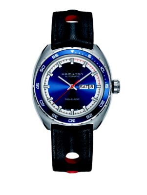 HAMILTON American Classic Pan Europ Automatic Leather Strap Watch; 42Mm in Black/ Blue/ Silver