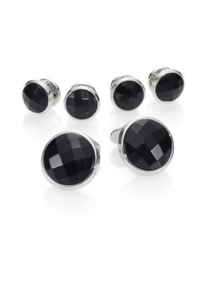 4 x Stud Dress Set Sterling Silver with Onyx Links