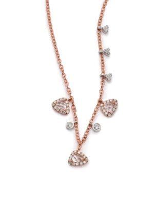 White Topaz, Diamond & 14K Rose Gold Charm Necklace