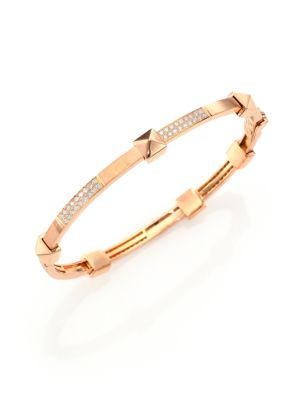 MARLI Pyramide Diamond & 18K Rose Gold Boheme Oval Bangle Bracelet