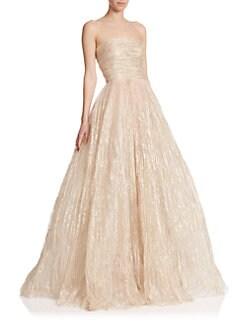 Oscar de la Renta - Strapless Foil Tulle Gown