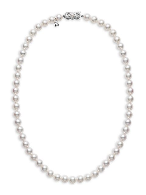 Essential Elements 18K White Gold & 6.5MM White Cultured Akoya Pearl Strand Necklace