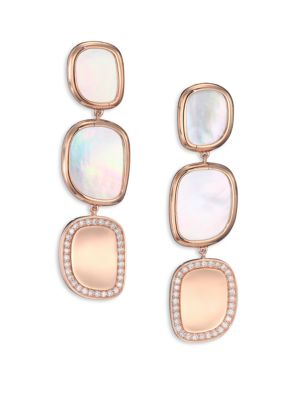 Roberto Coin Mother Of Pearl Diamond 18k Rose Gold Drop Earrings