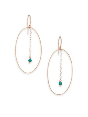 Fallen Sky Turquoise & 18K Rose Gold Ellipse Drop Earrings