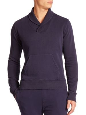 WAHTS Cotton & Cashmere Shawl-Collar Sweater in Night Blue